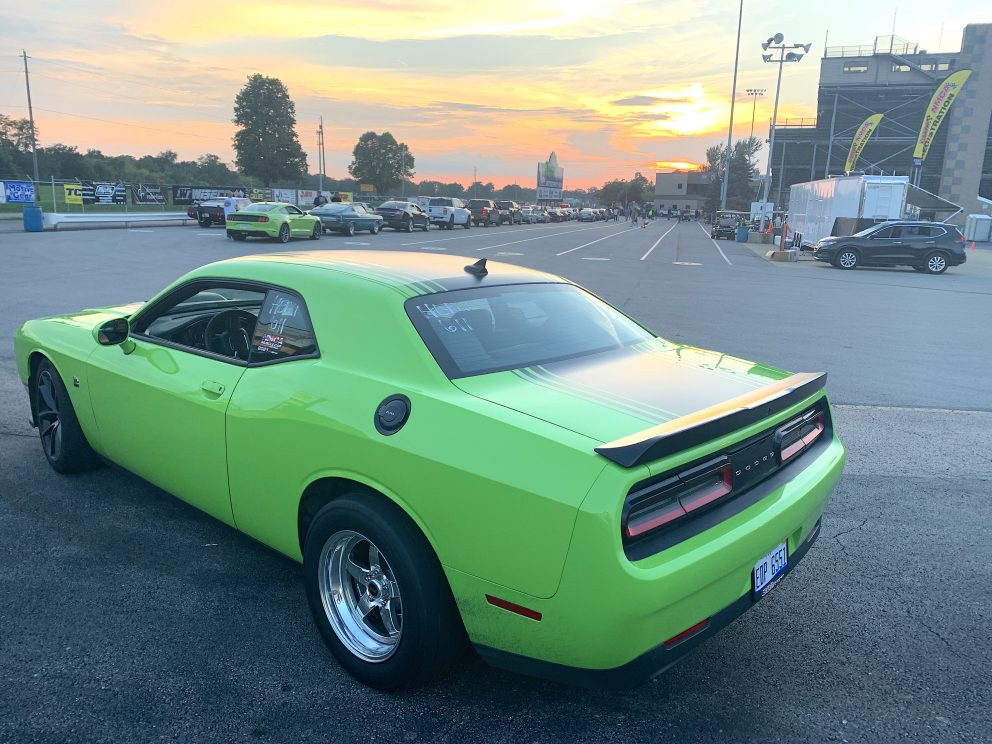 Challenger waiting to drag race