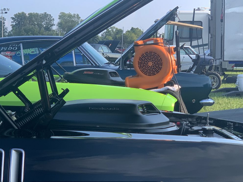 Fan cooling down a HEMI engine after a drag race