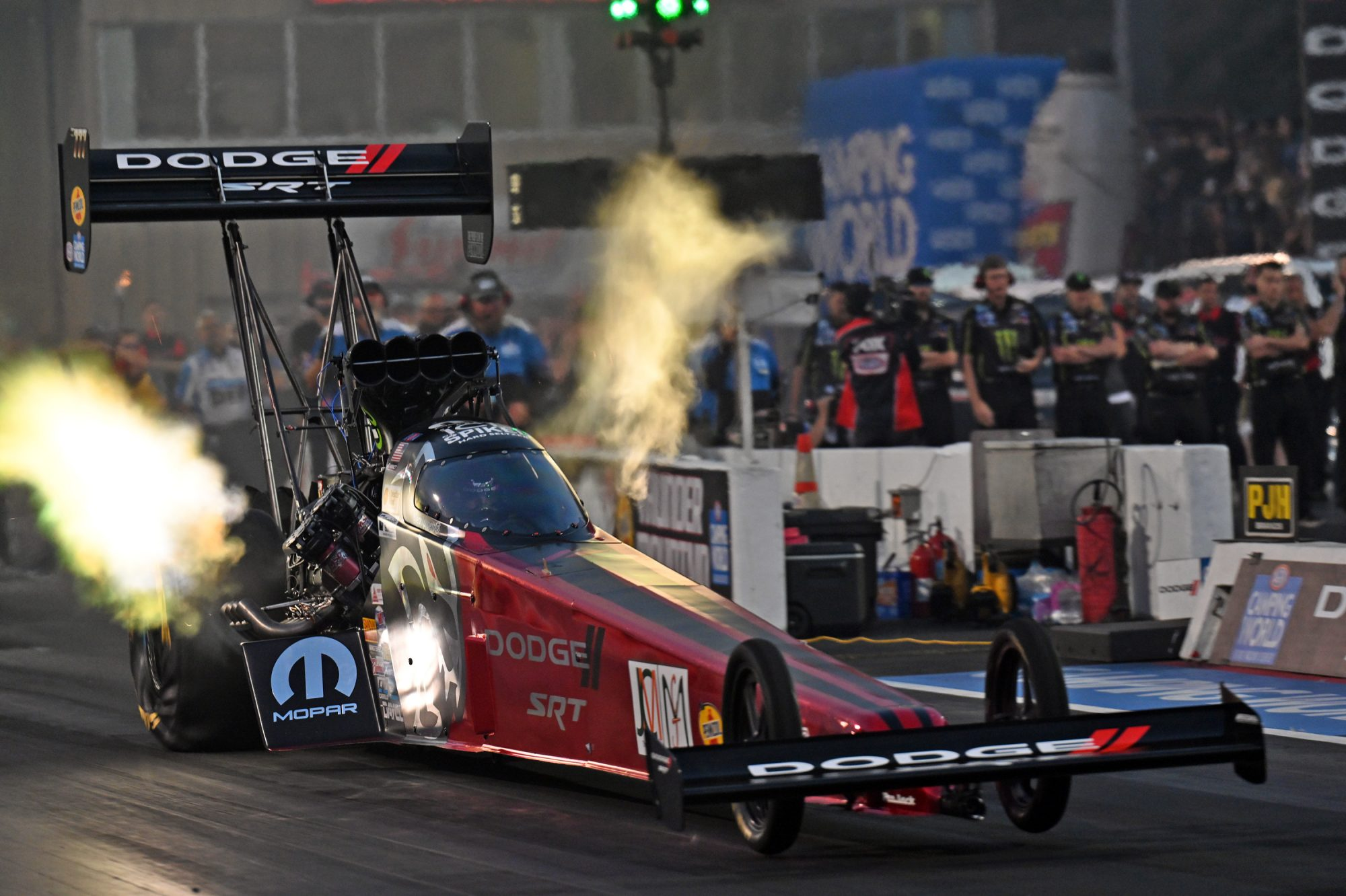 Leah Pruett drag racing her top fuel dragster