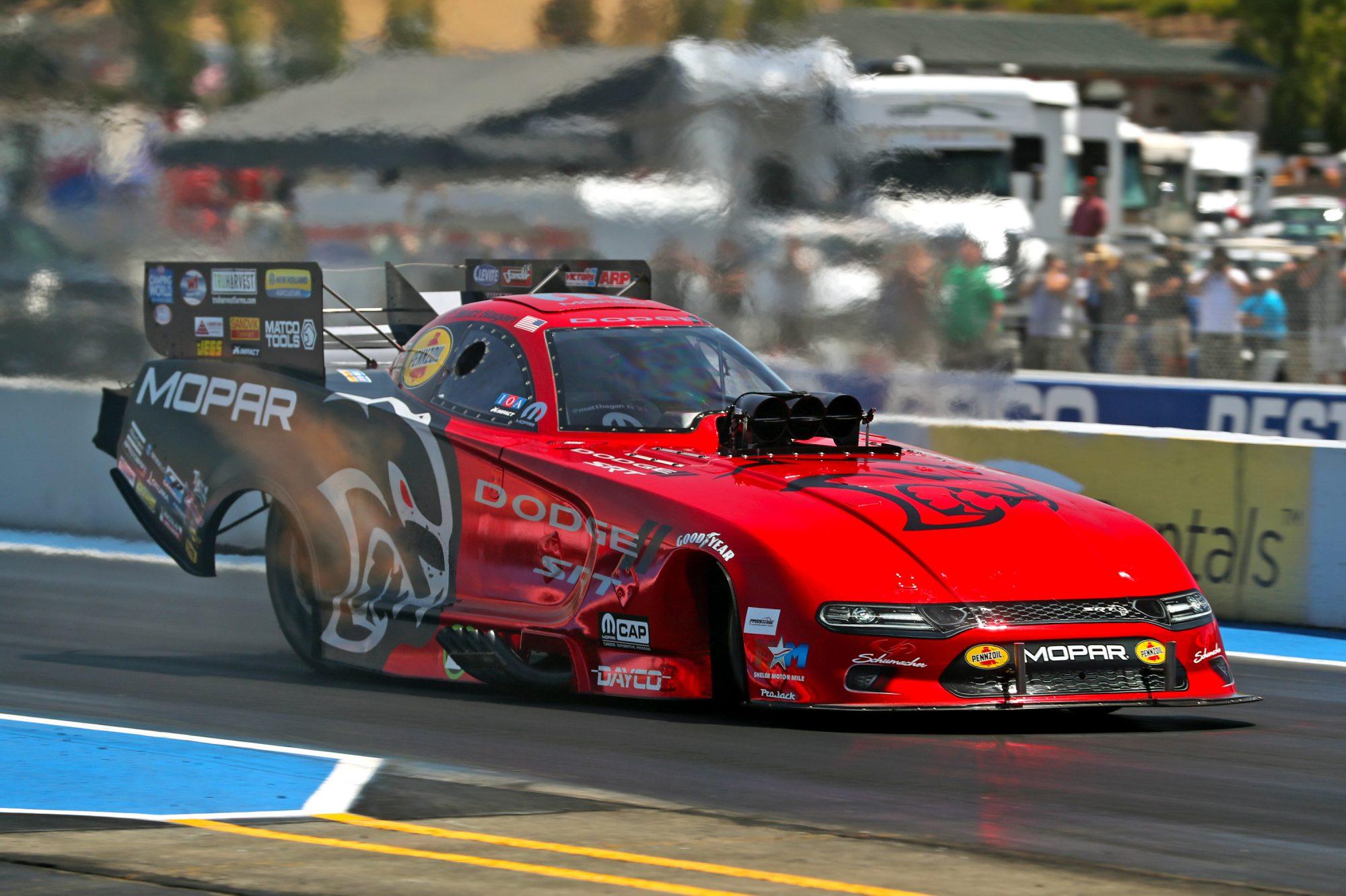 Matt Hagan drag racing his funny car