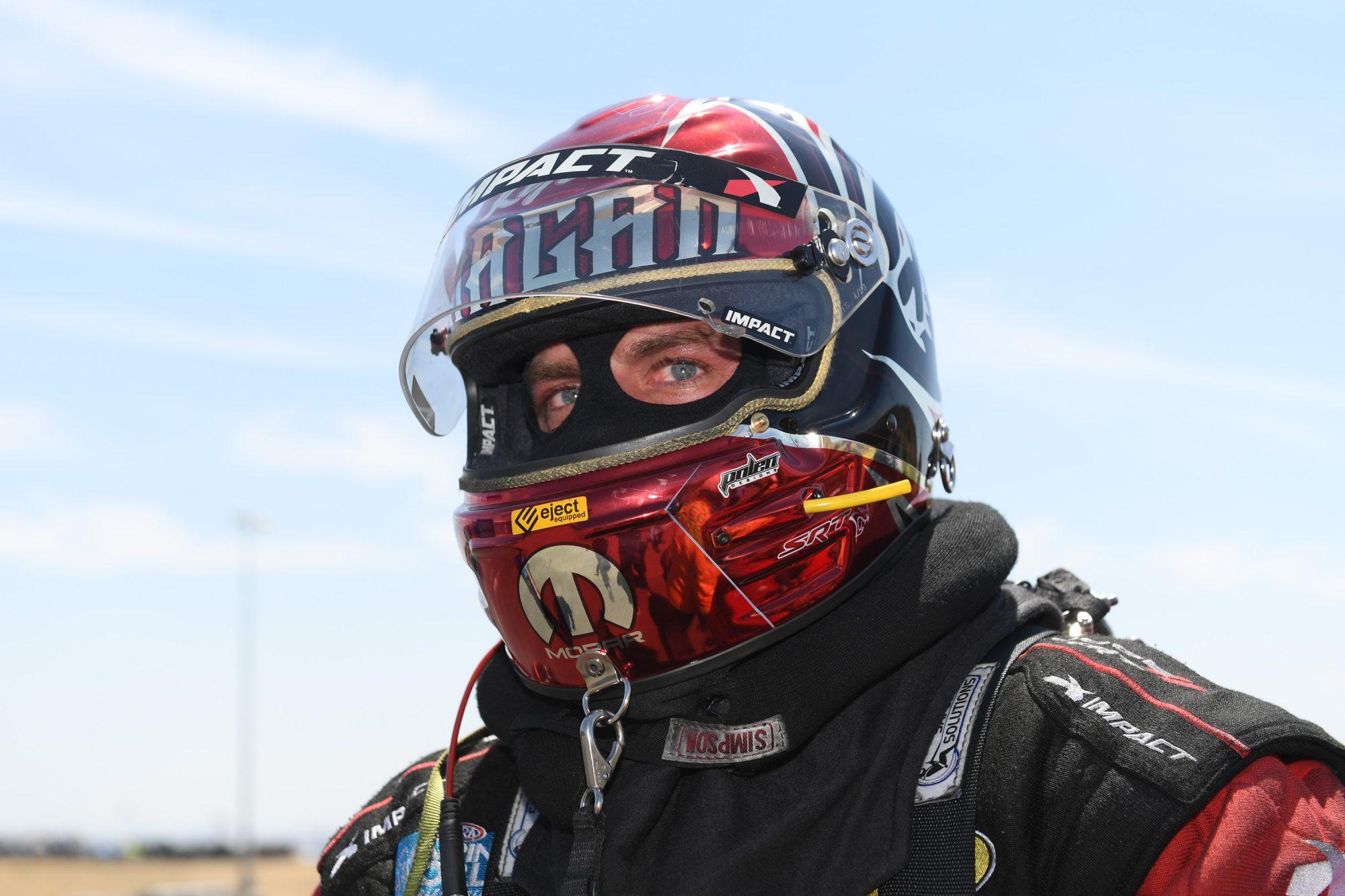 Matt Hagan in his racing suit