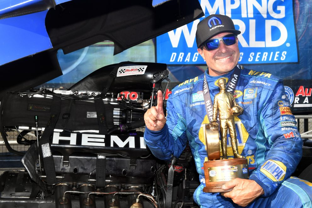 Ron Capps holding his Wally