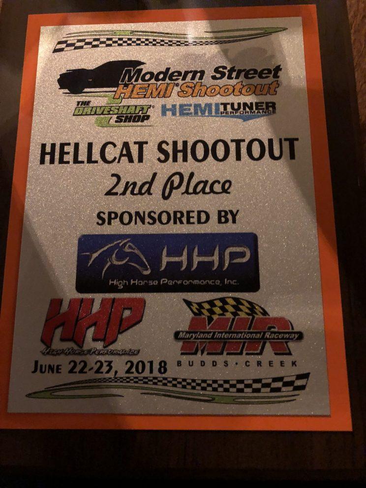 Modern Street HEMI Shootout second place certificate