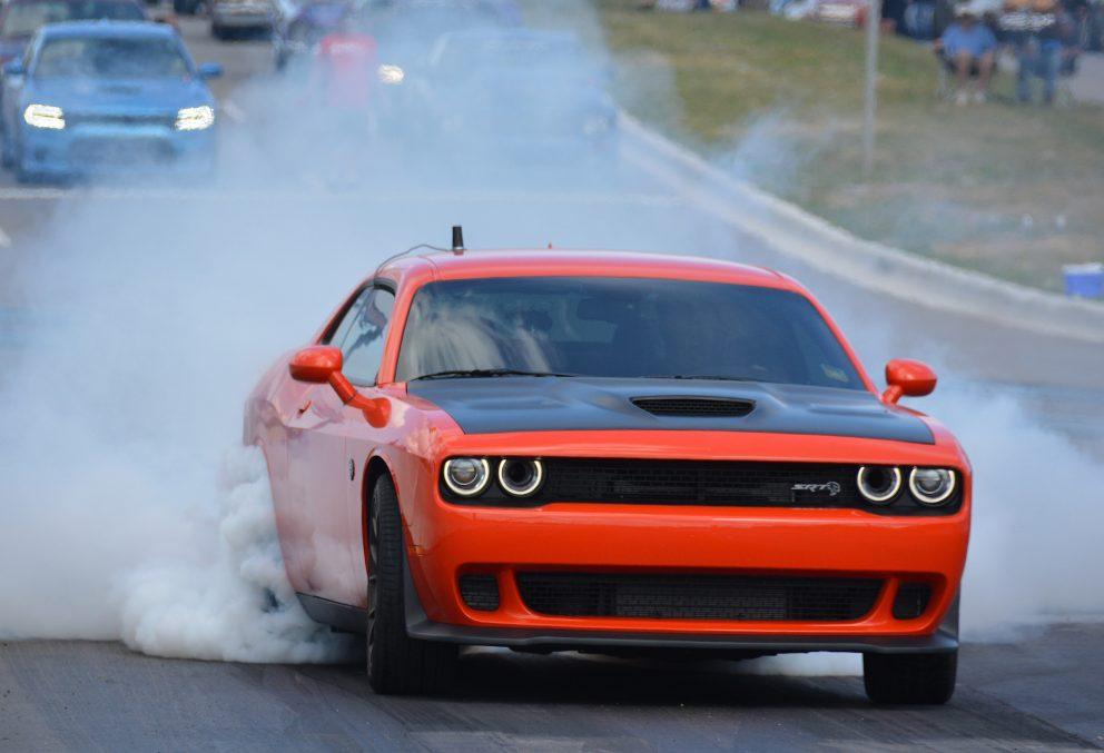 Dodge Challenger doing a burnout