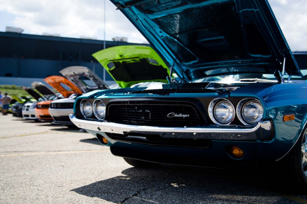 row of cars at Roadkill Nights Powered by Dodge