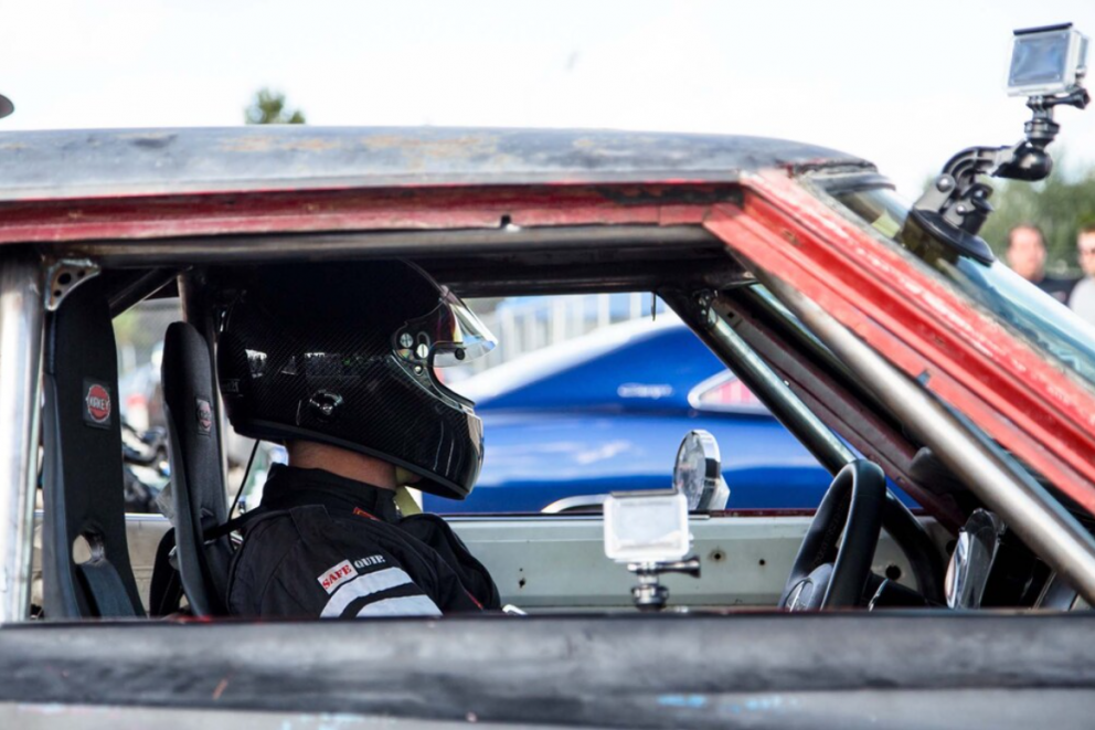 driver getting ready to drag race at Roadkill Nights Powered by Dodge