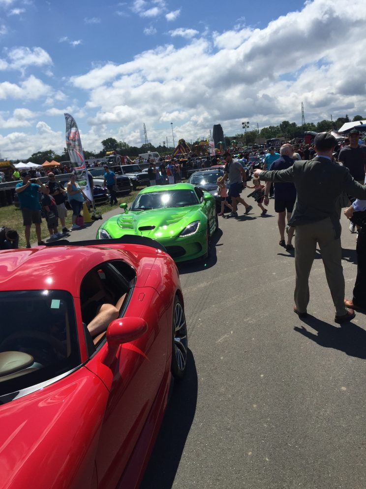 Dodge Vipers entering Roadkill Nights Powered by Dodge
