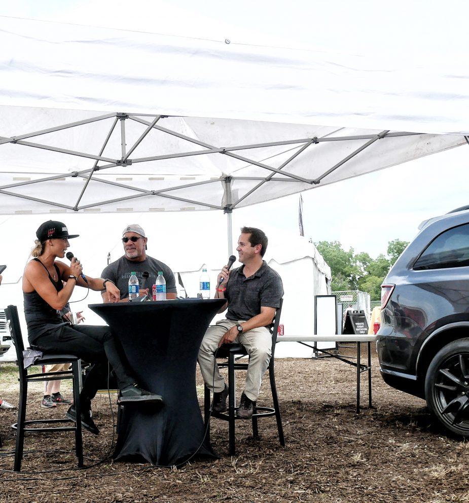 Leah Pruett talking to Goldberg and Matt D'Andria on CarCast podcast