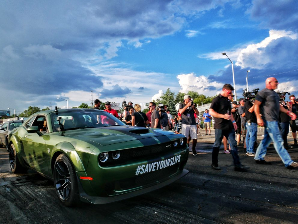 Challenger getting ready to drag race at Roadkill Nights Powered by Dodge