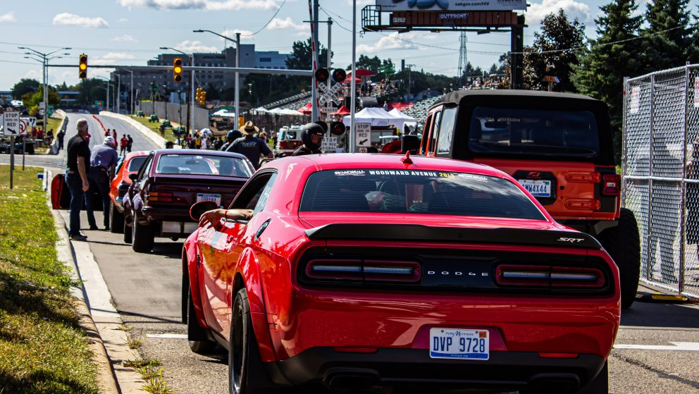 Line of drag racers at Roadkill Nights Powered by Dodge