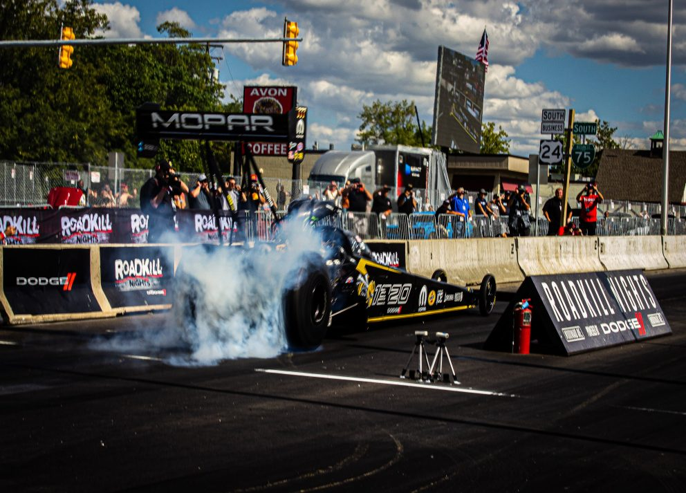 Leah Pruett's top fuel dragster at Roadkill Nights Powered by Dodge