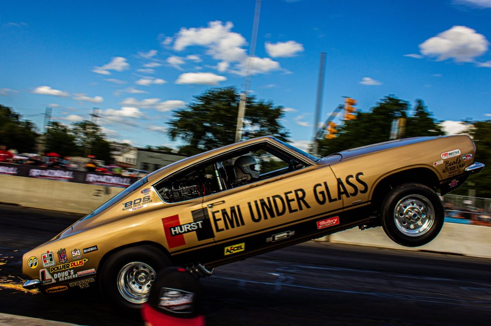 HEMI under glass doing a wheelie at Roadkill Nights Powered by Dodge