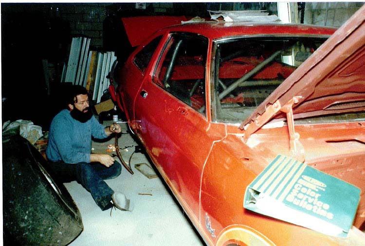 Man working on a car