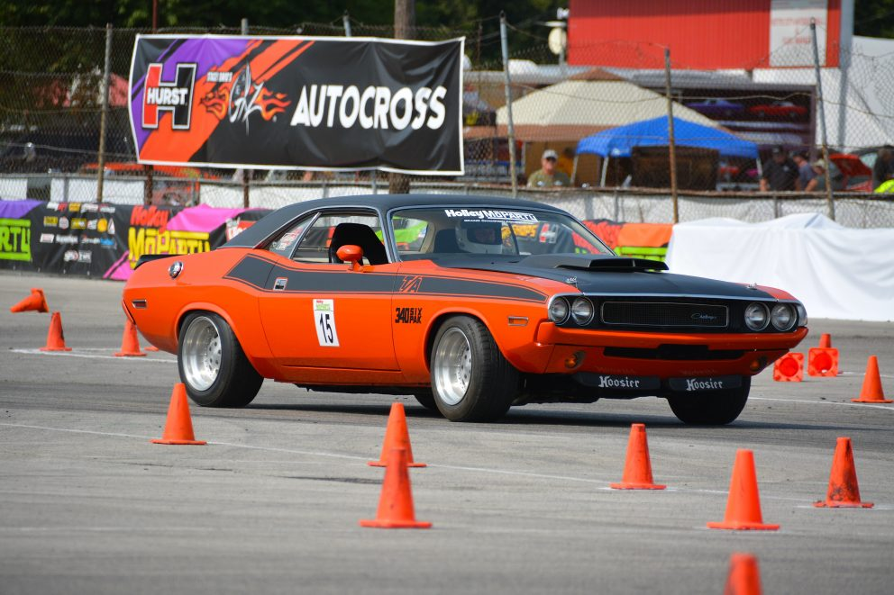 Vintage Challenger T/A going through an auto cross course