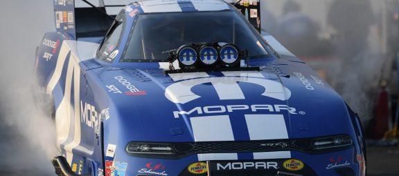 Tommy Johnson Jr. driving Matt Hagan's car in NHRA race