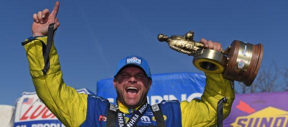 Matt Hagan celebrating a win