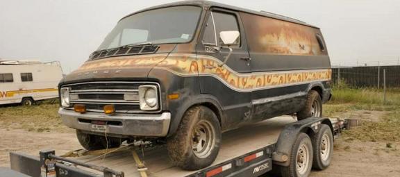Vintage Dodge van on a trailer