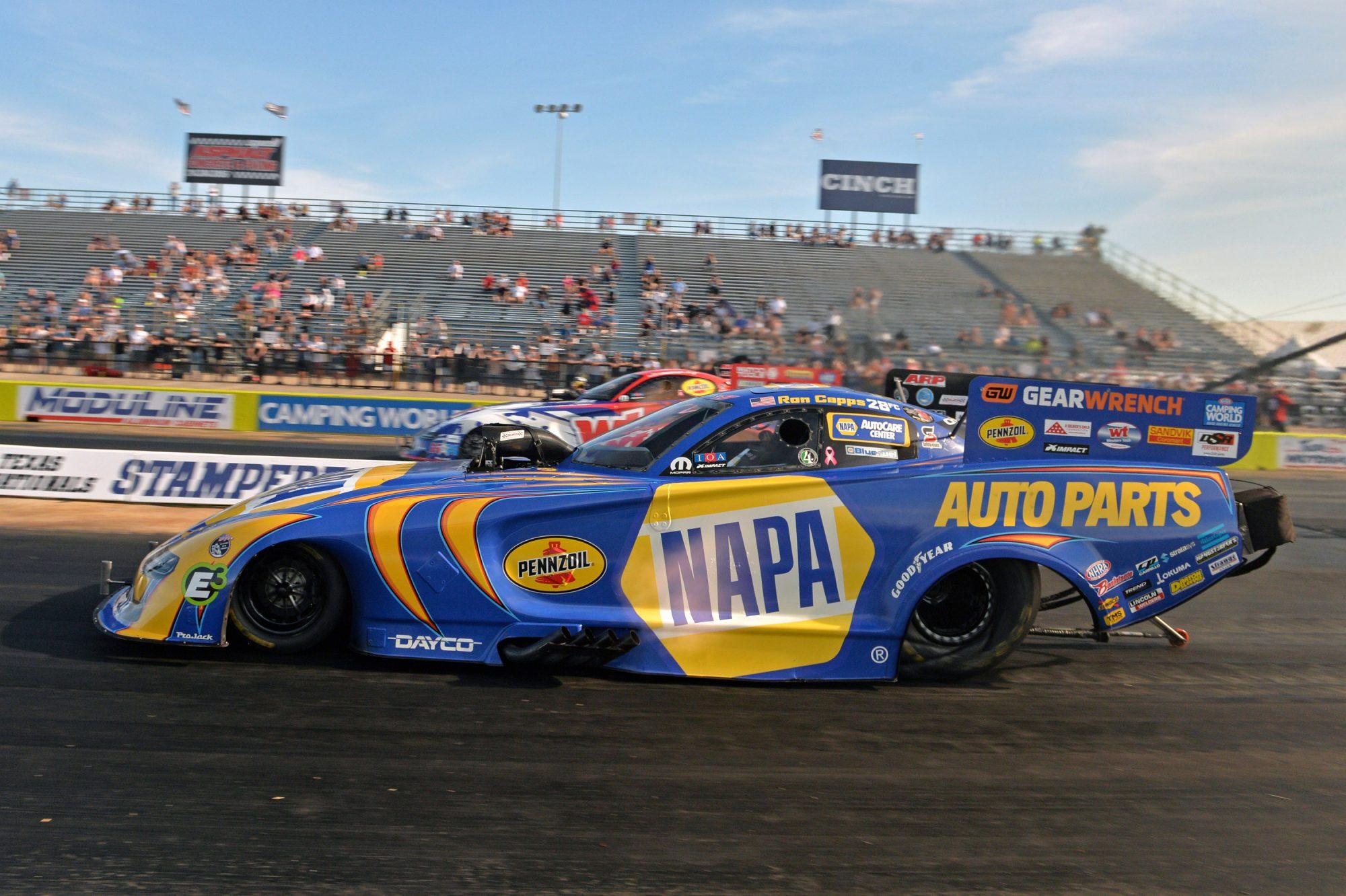 Ron Capps and Matt Hagan drag racing