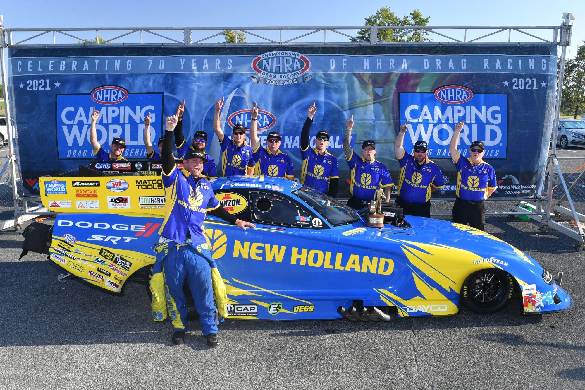Matt Hagan and his team celebrating a win
