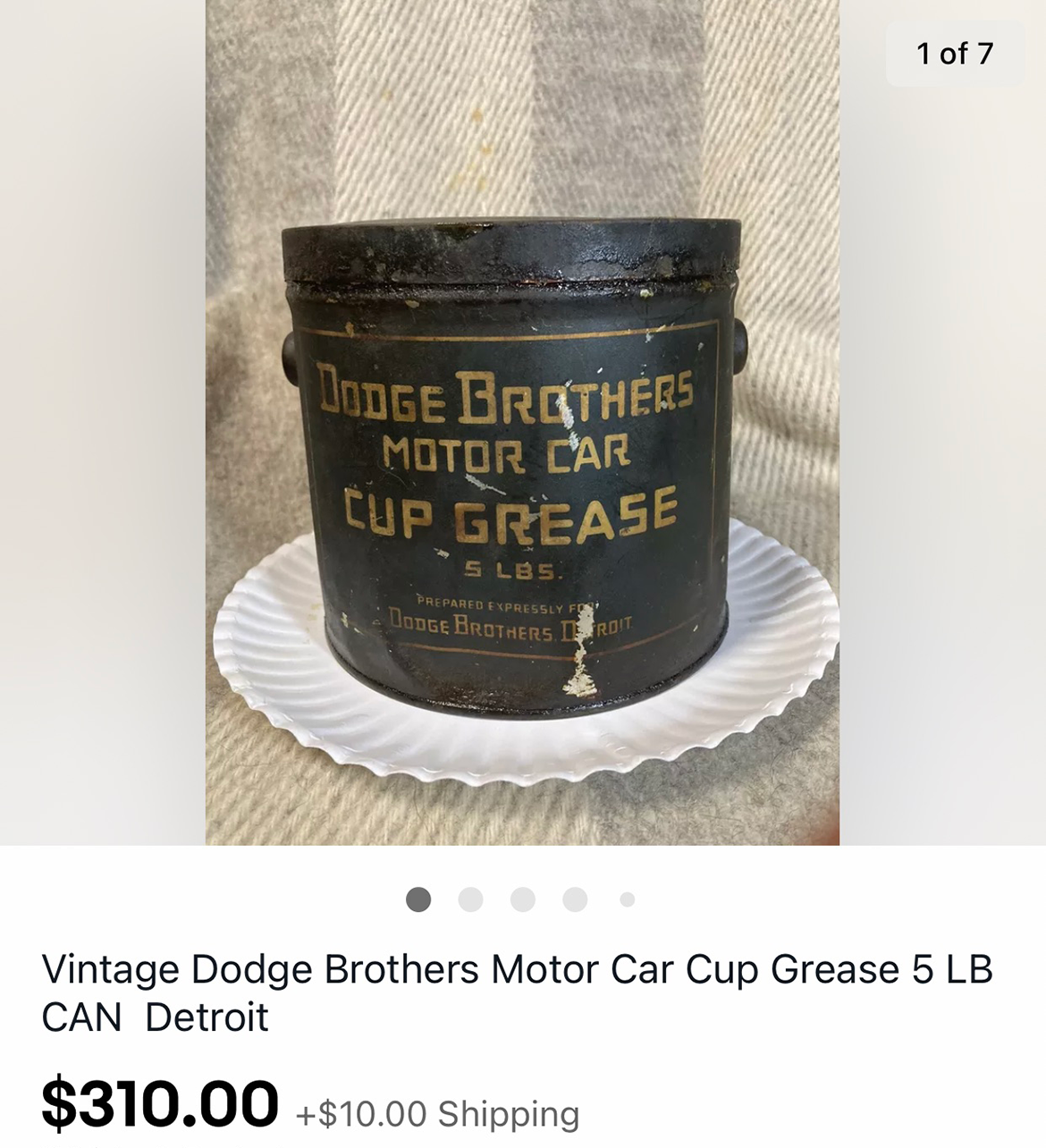 Dodge Brothers Motor Car Cup Grease listing